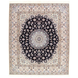 """Pasargad Fine Persian Nain Silk & Wool 6-Lines Rug - 6'9"""" X 8' For Sale"""