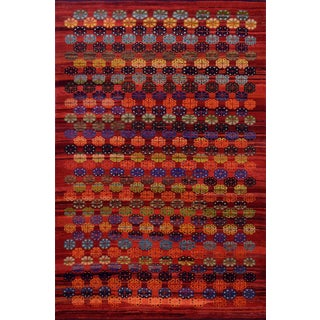 Mid 20th Century Vintage Floral Tomato-Red Handwoven Wool Turkish Rug For Sale