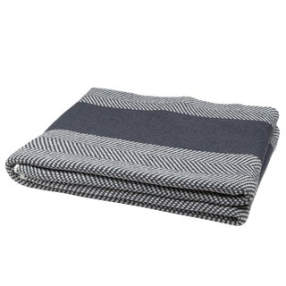 Eco Herringbone Stripe Smoke & Milk Throw