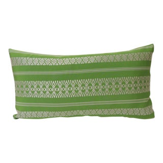 Vintage Acid Green Woven Silk Asian Decorative Lumbar Pillow For Sale