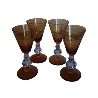 Antique English Amber Crystal Wine Goblets - S/4