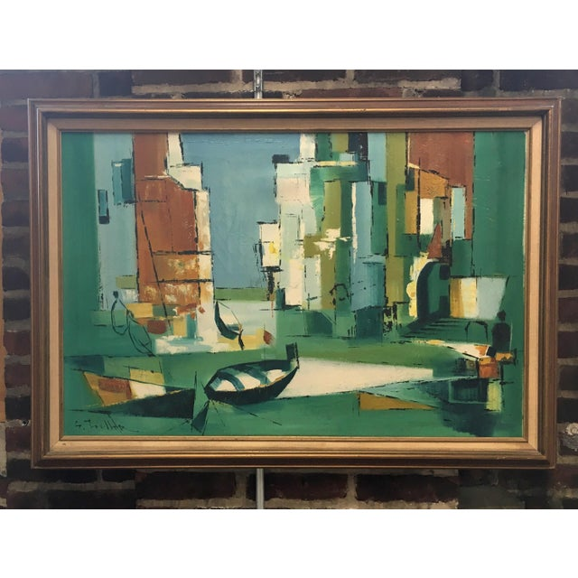 Mid Century Modern Abstract Fishing Scene Painting - Image 4 of 4