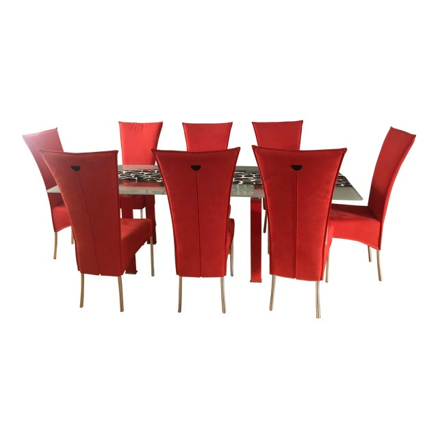Modern Red Dining Room Table & Chairs Set For Sale