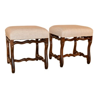 19th Century Pair of French Mutton Leg Stools For Sale