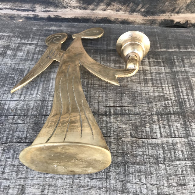 1970s Mid-Century Modern Brass Angels Candlestick Holders - Set of 3 For Sale - Image 5 of 12
