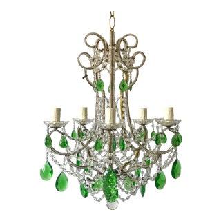 1950s Italian Vintage Green Crystal Beaded Chandelier For Sale