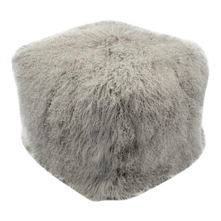 Vesta Juliana Fur Pouf in Gray For Sale