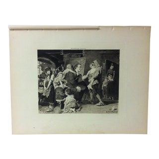 "Antique Photogravure on Paper, ""Pestalozzi - the Children's Friend"" by Konrad Grob - Circa 1860 For Sale"