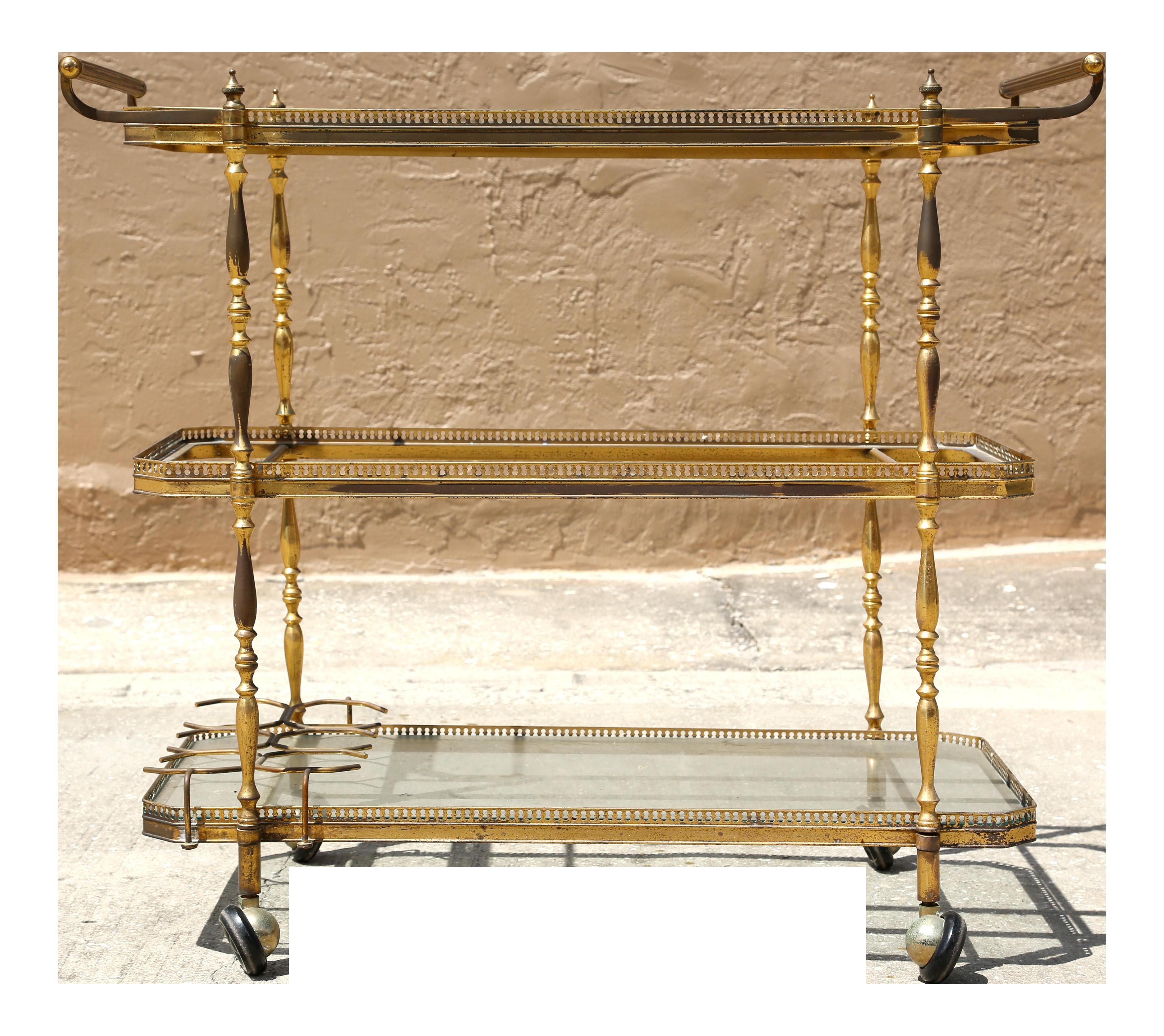 3 tier bar cart kitchen vintage brass bar cart tier glass shelves hollywood regency for sale