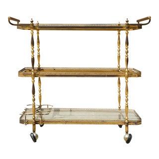 Vintage Brass Bar Cart - 3 Tier Glass Shelves Hollywood Regency For Sale