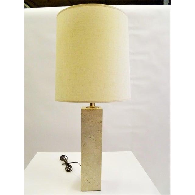 Robsjohn-Gibbings Style Mid-Century Travertine Marble Table Lamp For Sale - Image 11 of 12