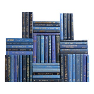 Modern Blue & Gold Book Wall :Set of Fifty Decorative Books