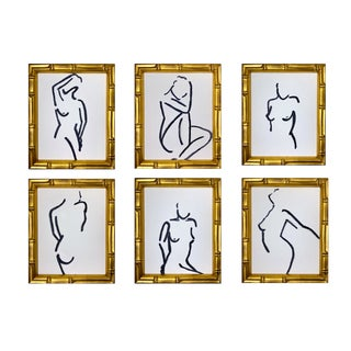 Lindsey Weicht Female Figure Study Payne's Grey Drawings - Set of 6 For Sale