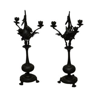 Pair Aesthetic Movement Cast Metal Candlesticks Swallows Nesting in Hanging Gourds For Sale