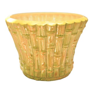 Mid-Century Hand-Painted Faux Bamboo Ceramic Cachepot