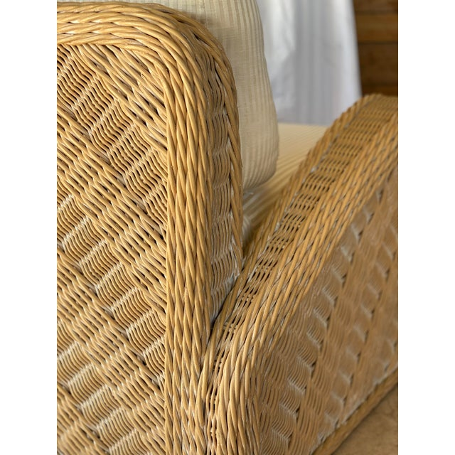 Boho Chic Coastal Wicker Braid Lounge Chair For Sale - Image 3 of 13