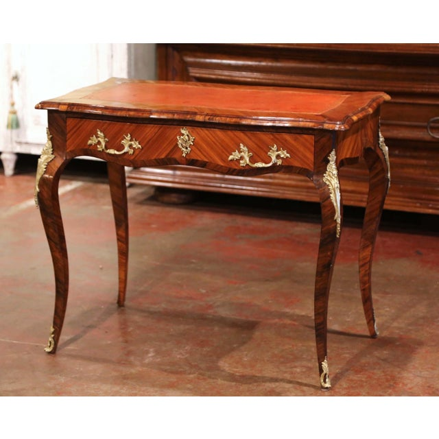 19th Century French Louis XV Marquetry and Bronze Ladies Desk With Leather Top For Sale - Image 13 of 13