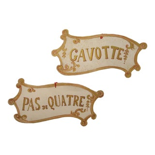 Antique French Hand-Painted Dance Signs - A Pair
