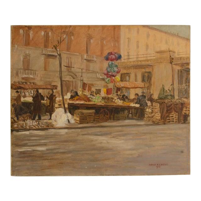"1940s ""Market in Milan"" Street Scene Oil Painting by Joshua Felise Ziro Brevio For Sale"