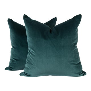 Luxe Peacock Blue Velvet Pillows, a Pair For Sale