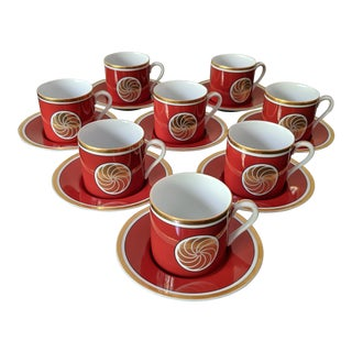 Fitz & Floyd Medaillon d'Or Orange Cup and Saucer – Set of 8 For Sale