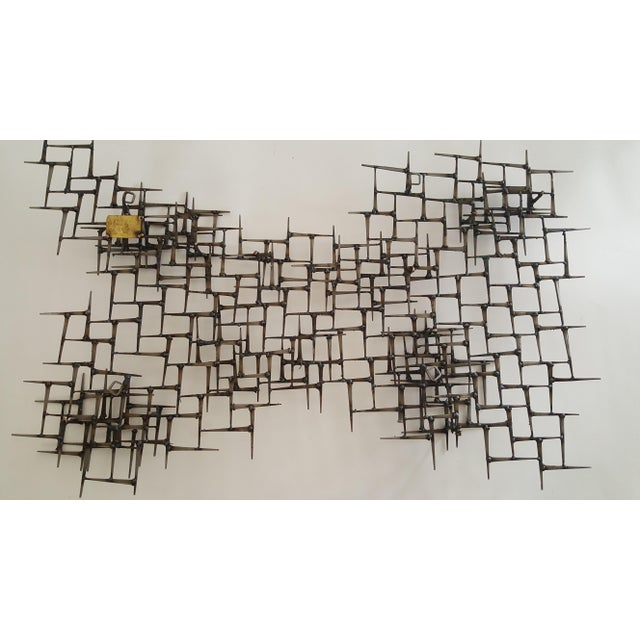 Bronze Abstract Metal Bronze & Mason Nails Wall Sculpture For Sale - Image 7 of 7