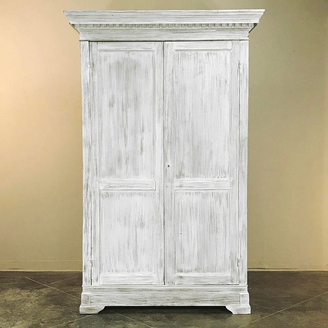 19th Century Swedish Whitewashed Pine Armoire For Sale - Image 4 of 12