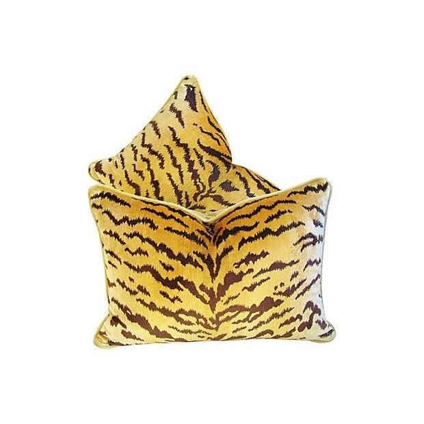 Custom Scalamandre Silk Le Tiger Pillows - A Pair - Image 2 of 6