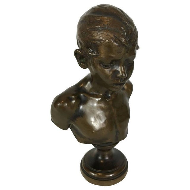 Bronze Portrait Bust of a Youth - Image 1 of 5