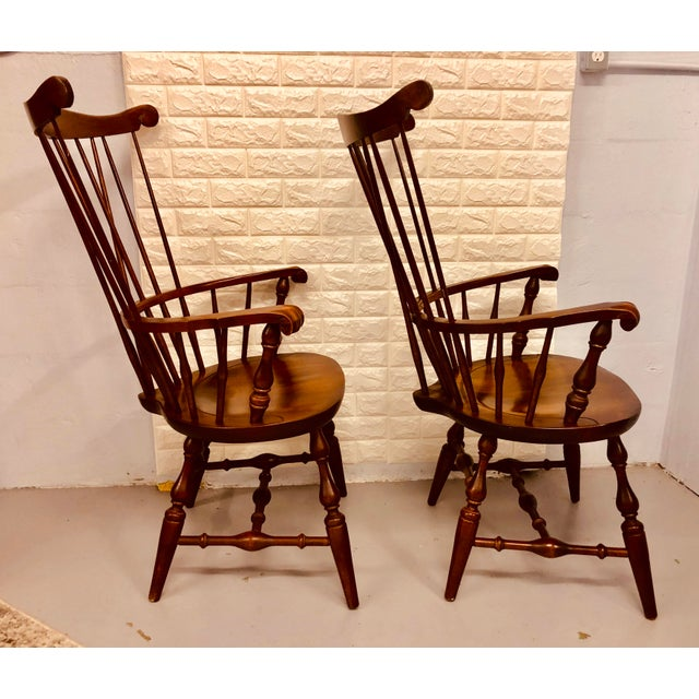 1980s Vintage Nichols & Stone Windsor Chairs- A Pair For Sale - Image 6 of 13