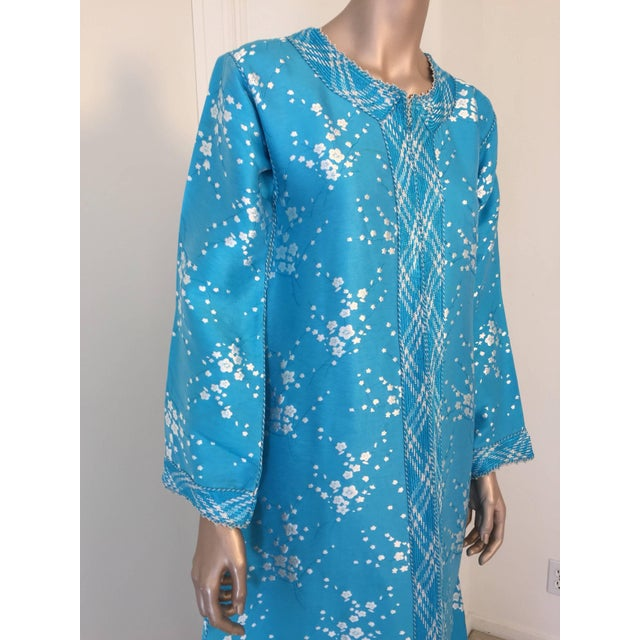 Vintage Moroccan Designer Kaftan Turquoise Maxi Dress Kaftan Size Small For Sale In Los Angeles - Image 6 of 9