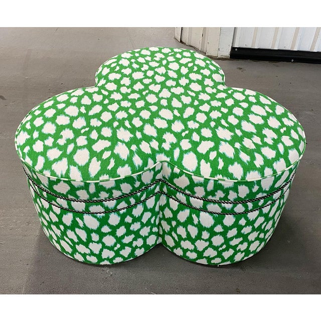 Contemporary Large Cloverleaf-Shaped Ottoman Upholstered in Kate Spade Fabric For Sale In Atlanta - Image 6 of 9
