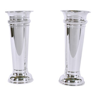 Mid 20th Century English Sheffield Silver Plated Vases - a Pair For Sale