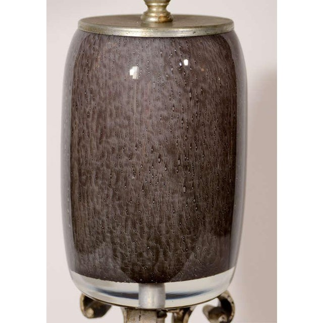 Hollywood Regency Italian Murano glass lamp. Sommerso blown glass in hues of charcoal grey over clear glass. Lamp has...