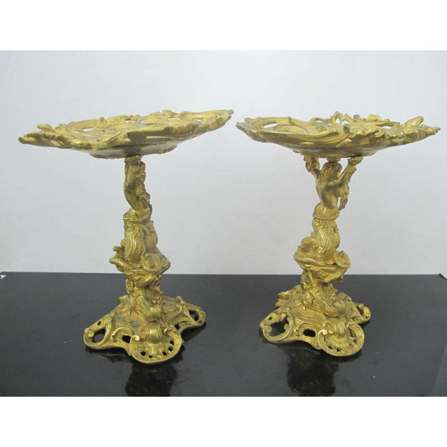 Baroque Antique 19th C. French Gilt Ormolu Bronze Neptune Poseidon Candle Card Holders - a Pair For Sale - Image 3 of 13