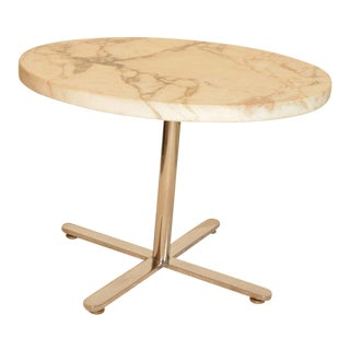 1980s Marble and Stainless Steel Occasional Table For Sale