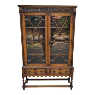 Vintage English Jacobean Bookcase Display Cabinet For Sale