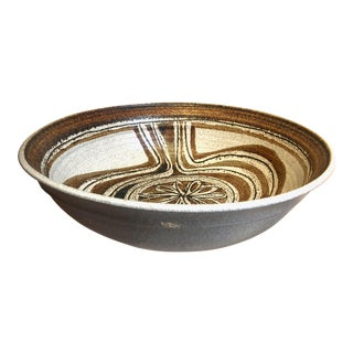 Large Vintage Wishon Harrell Stoneware Serving Bowl For Sale