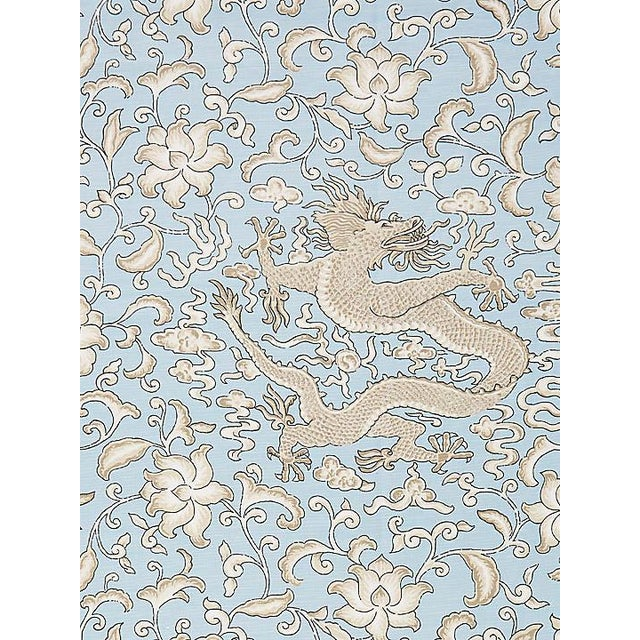 Chinoiserie Scalamandre Chi'En Dragon Linen Print, Sky Fabric For Sale - Image 3 of 3