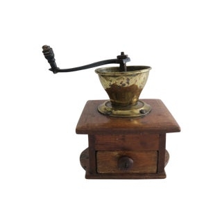 Antique Wood and Brass Countertop Coffee Bean Grinder Mill For Sale