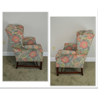 Southwood Chippendale Style Mahogany Frame Floral Upholstered Pair of Wing Chairs Preview
