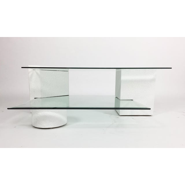 Glass 1980s Post-Modern Geometric Multi-Tiered Coffee Table For Sale - Image 7 of 8