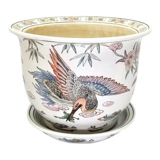 Famille Rose Chinese Ceramic Porcelain Planter With Crane and Flowers - Signed - Asian Mid Century Boho Palm Beach Chic For Sale