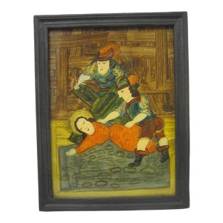Mid 19th Century German Ex Voto Reverse Glass Painting, Framed For Sale