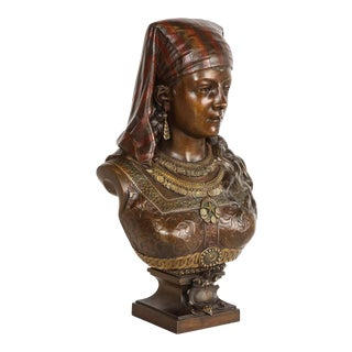 Exquisite French Multi-Patinated Orientalist Bronze Bust of Saida, by Rimbez For Sale