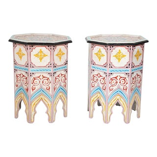 Moroccan Hand Painted Side Tables - a Pair For Sale