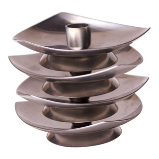Set of Four Danish Modern Stelton Stainless Steel Candle Holders For Sale