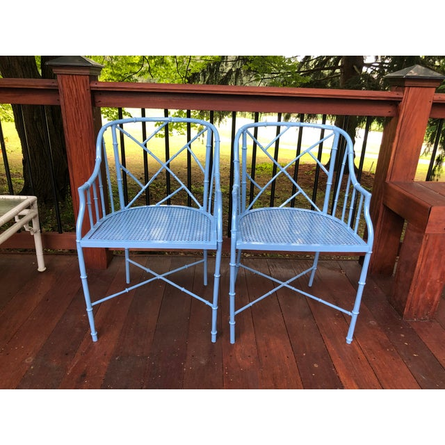 1970s Vintage Cast Aluminum Chinese Chippendale Faux Bamboo Barrel Chairs- A Pair For Sale - Image 13 of 13