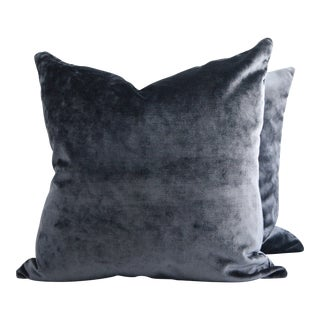 FirmaMenta Italian Dark Blue Solid Velvet Pillows - a Pair For Sale