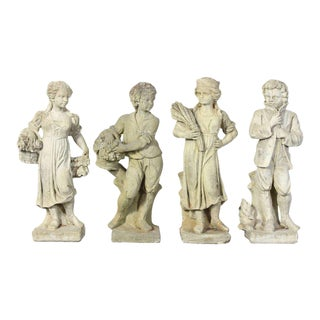 English Cast Stone Depicting Four Seasons Garden Statues - Set of 4